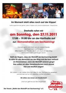 Rettet den Sachsenring - Demonstration am 27.11.2011